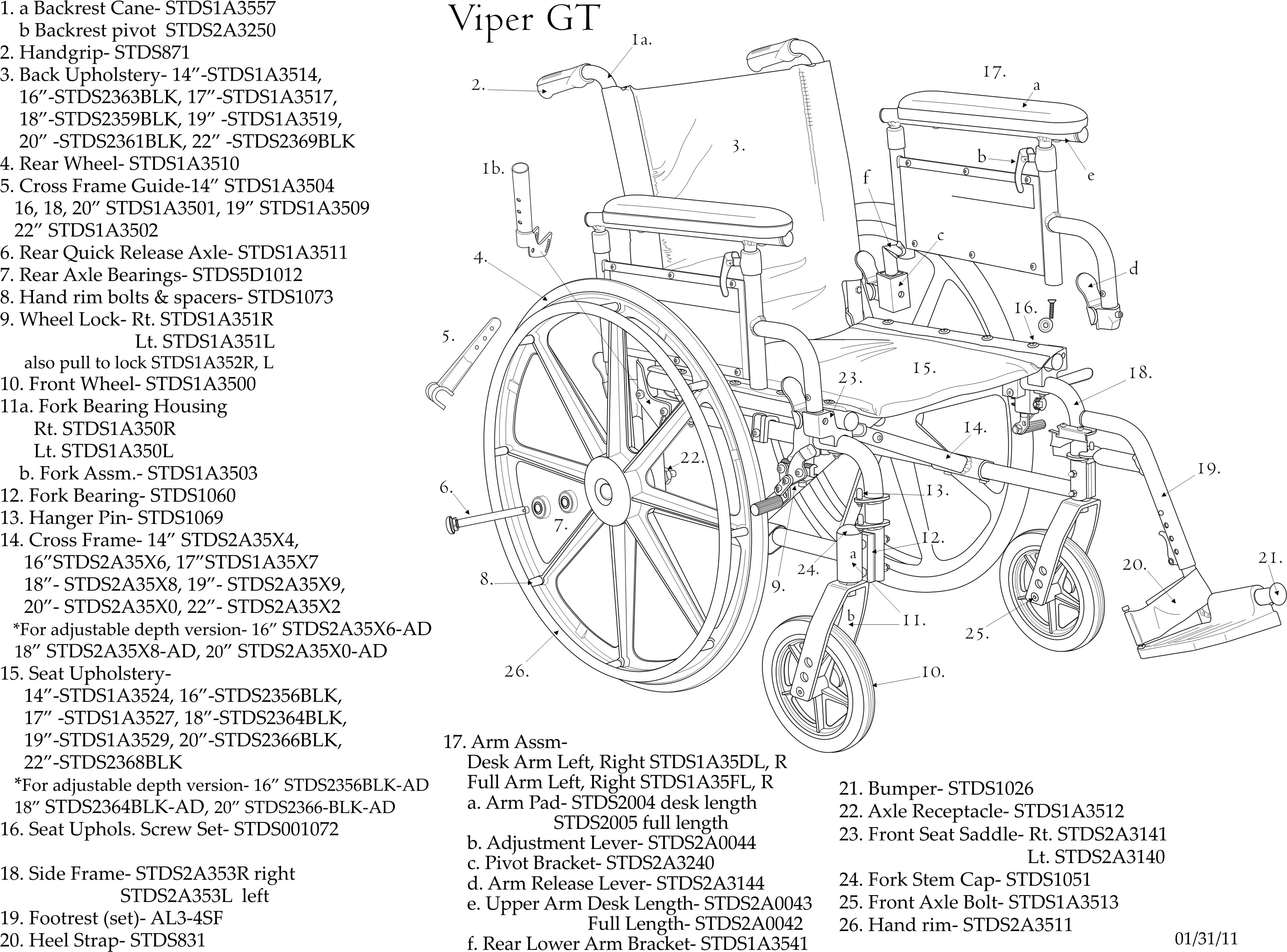 Drive Medical Viper Plus GT Wheelchair Deluxe High-Strength