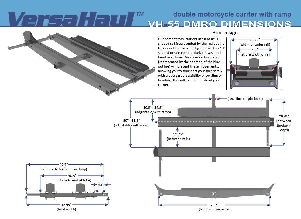 Avg Motorcycle Lift Dimensions : Versa haul vh dmro double motorcycle carrier with ramp