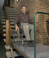 inclined wheelchair lift in use