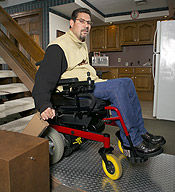 Inclined Platform Wheelchair Lift In Use
